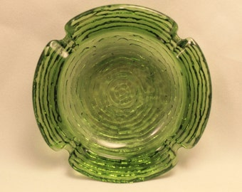 Ashtray Vintage Green Glass Ashtray
