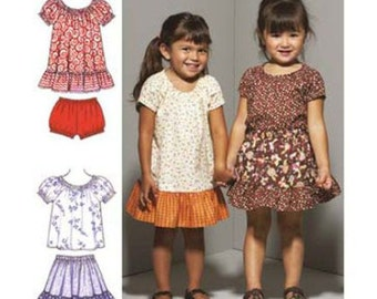 Kwik Sew sewing pattern K3665 Toddlers Dress, Top, Skirt & Bloomers, Adorable Vintage Look, Toddler Girls - new and uncut