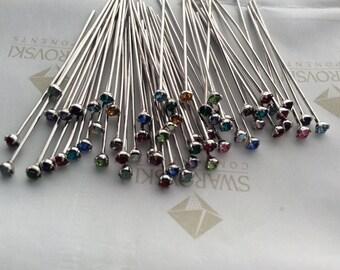 60 pieces Assorted Colors Swarovski Crystal pp18 Rhinestones Silver Headpins 21 gauge x 1 1/2 inches