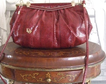 CHRISTIAN DIOR Authentic Vintage c.1970s Gorgeous Burgundy Natural Leather  Elegant Clutch Chic Purse Shoulder Bag in Excellent Condition!!!
