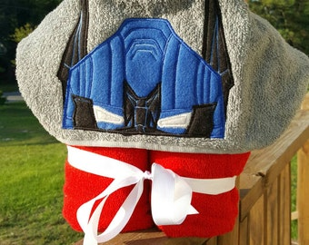 Optimus Prime Transformer Inspired Hooded Towel with FREE Embroidered Name