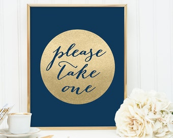 Please Take One Sign DIY / Navy and Gold Wedding Sign / Metallic Gold Sparkle Circle / Champagne Gold ▷ Instant Download JPEG