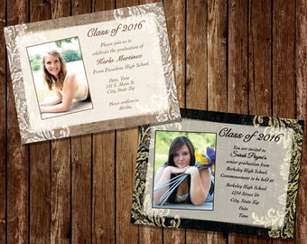 Burlap Graduation Invitation