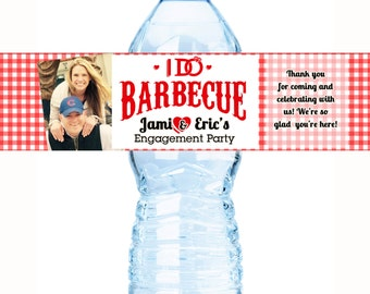 20 Water Bottle Labels, I Do BBQ, Engagement Party Wedding, Bachelorette, Bridal Shower, Customizable  Personalized Labels - I DO BBQ photo