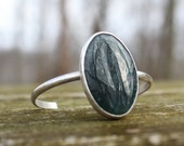 Sterling Silver Green Moss Agate Cuff Bracelet- Handmade- Adjustable- One of a Kind- Metalsmith - Large Agate