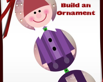 Build a Elf Ornament Bottle Cap images -1 in circles - 600dpi, 4 Different sets on a Collage Sheet, ornaments, Gift Tags, BottleCaps