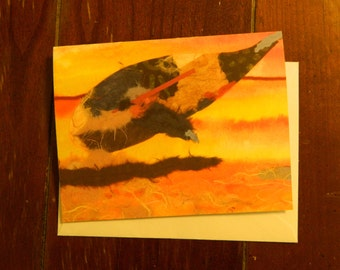 Balen (whale) blank note card with envelope, 5.5.x 4 matte