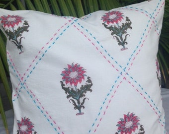 Block Print and Kantha Pillow Covers in 100% cotton- Custom Sizes