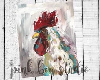 Chicken Print Fine Art Instant Download | Rooster 5