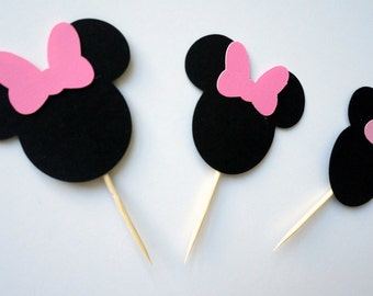 Minnie mouse cupcake topper - pink and black - birthday - party