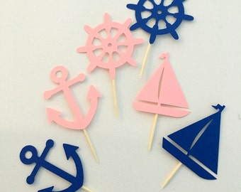 Nautical themed cupcake toppers .. pink and blue toppers .. gender neutral baby shower