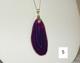 Purple Agate Slice Pendant/Necklace