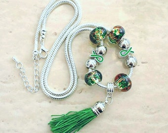 Green Ribbon Tassel Charm Lampwork Beads Silver Plated Necklace 23-25 Inches
