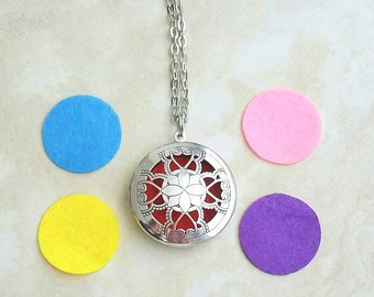 Aromatherapy Essential Oil Diffuser Locket including Pads Silver Plated Necklace 28 Inches