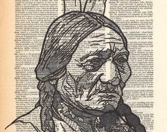 Sitting Bull Portrait on a Dictionary Page