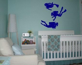Wall Vinyl Sticker Decals Mural Room Design Bedroom scuba diver mask water deep dive swim nursery bo2822