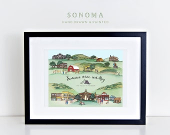 Sonoma Wine Country Map Print