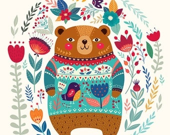 Cute Bear in a beautiful sweater and floral background. Fine Art PRINTS. Beautiful print for living room or  KIDS ROOM.