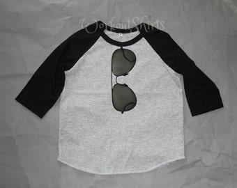 Sunglasses tshirt Toddler shirts /raglan shirt kids clothing for 12M/2T/ 4T/5-10 years