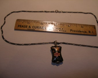 """Cloisonne Pendant on 18"""" Sterling Chain"""