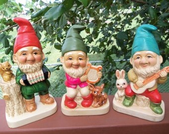 Vintage Ceramic Porcelain Elf/Gnome Musician Figurines by Homco. Marked #5201. Set of 3.