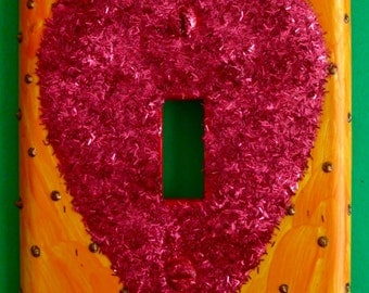 Glittered heart switchplate