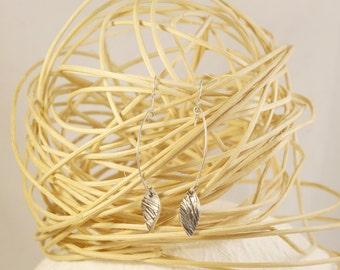 Silver leaf earrings, long leaf earrings, long silver earrings, textured silver , Earrings silver leaf ,Textured earrings
