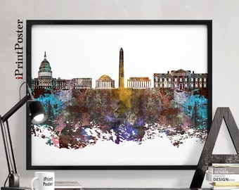 Washington Dc Wall Art washington dc skyline art print dc map dc wall art dc
