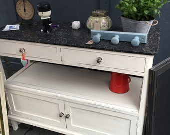 Marble Topped Table with two drawers and two cupboards