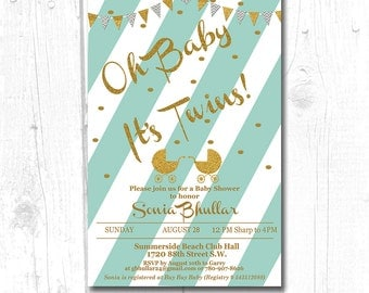 Twin Baby SHower Invitation For Boy, twin baby shower invitation polka dots, Gold Glitter Baby Shower Invitation, Teal Baby Shower Invite