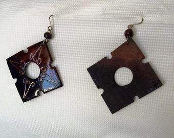 Mahogany Squares - Earrings