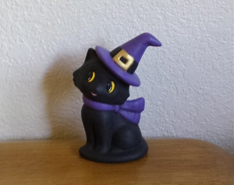 Ceramic Small Cat with Witch Hat Sitting(#263)