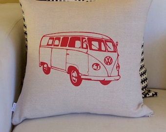 Linen Silkscreened Volkswagon Van Pillow