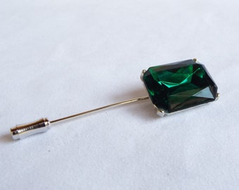 Vintage Old Hollywood Regency Glamorous Silver Tone Emerald Green Rhinestone Stick Pin / Lapel Pin/ Hat Pin