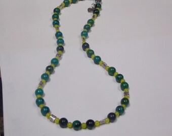 Beaded hand made necklace, w/ Malachite