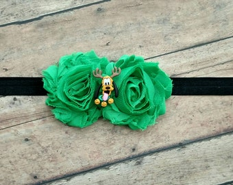 Disney Pluto Christmas headband with green flowers and elastic band for baby, toddler and adult