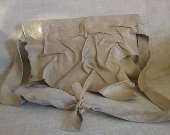 Antique cream leather ruffled bag