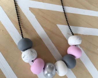 Polymer clay bead necklace. Silver, marble, baby pink, grey, black, white. 'the megan'