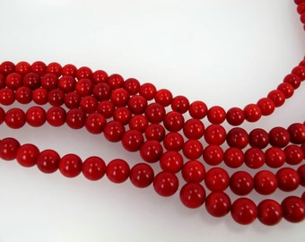 Red coral round beads. 9mm red coral beads. High quality. Smooth. Full strand