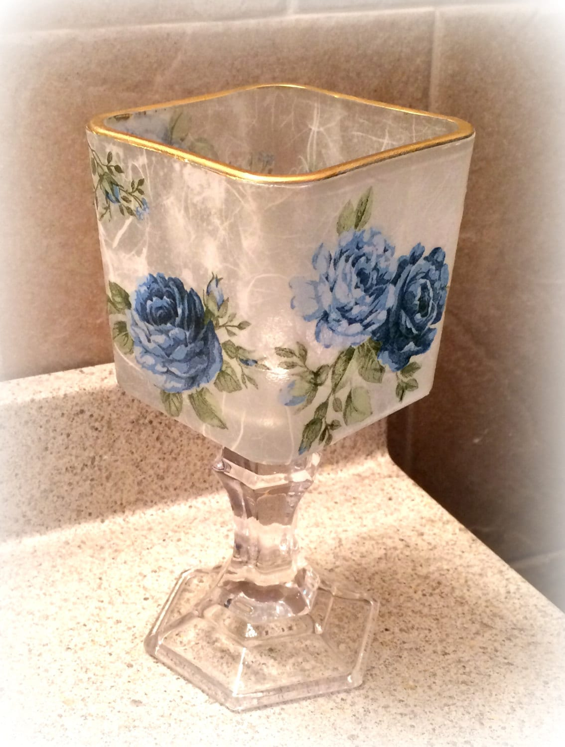 Shabby chic candle holder blue roses on glass decoupage