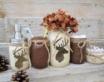 Deer Head Mason Jar Bathroom Set, Lodge Bathroom Decor, Boys Bathroom Decor,  Deer