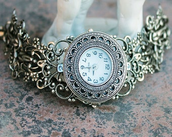Womens watch, women watch, silver watch, vintage watch, wrist watch, victorian watch, gothic watch, fantasy watch