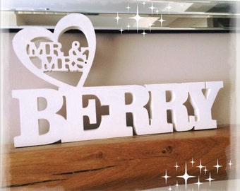 Freestanding Mr & Mrs , Table top sign , Mr and Mrs Wedding sign , Mr and Mrs Personalised sign , Top table