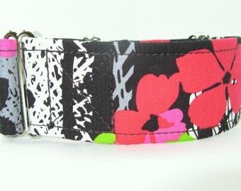 Vibrant Flower Martingale Collar, Bright Collar, Whippet Collar, Greyhound Collar, Unique Martingale, Saluki Collar, Black Pink Red Collar
