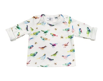 Baby shirt songbirds - organic cotton
