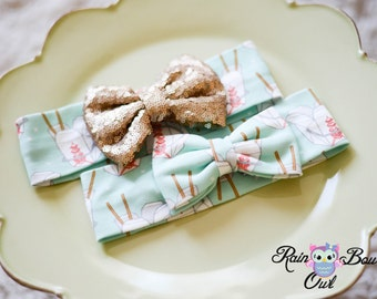 Big Sparkly/Knit Bows with Hello Kitty Knit Headwrap