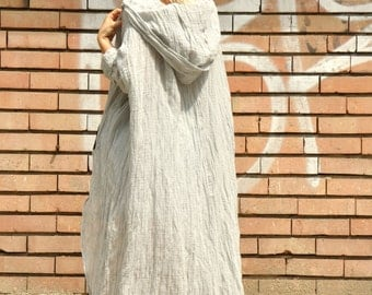 Beige 100% linen tunic/Linen dress/Loose maxi tunic/Casual organic top/Hooded  tunic/Oversize top tunic/Hooded blouse dress/Handmade/T1489