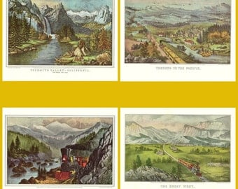 Four Prints from the Northwest from the book Currier and Ives America