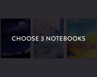 "Choose Any 3 Notebooks, Custom Notebooks, 4"" x 6"" Notebooks, Blank Notebook, Pocket Notebook, Sketchbook, Anime Notebook"
