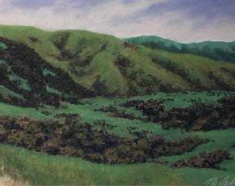 Down the Hill - small original pastel painting California central coast landscape green hills valley trees